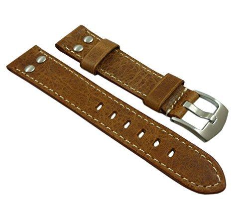20mm Pelle di vitello cinturino per orologio in vintage-look con rivetto in...