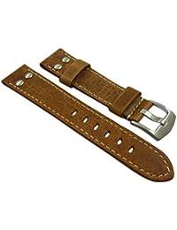 20mm Cuero de becerro pulsera de reloj en vintage-look con remaches en marrón con hebilla en plata