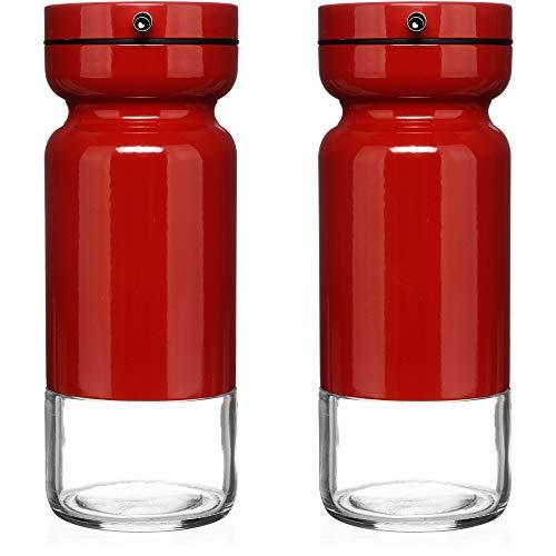 Chef Vantage Essig- und Ölspender Set mit eleganter Glasflasche und tropffreies Design rot - Top Cruet