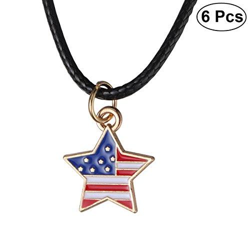 (BESTOYARD 6Pcs amerikanische Flagge Halskette Stern Anhänger Kette patriotischen Schmuck für 4. Juli Nationalfeiertag)
