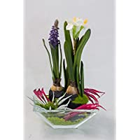 Frühling mit Narzisse und Muscari- Tischgesteck, Tischdeko mit künstlichen Pflanzen