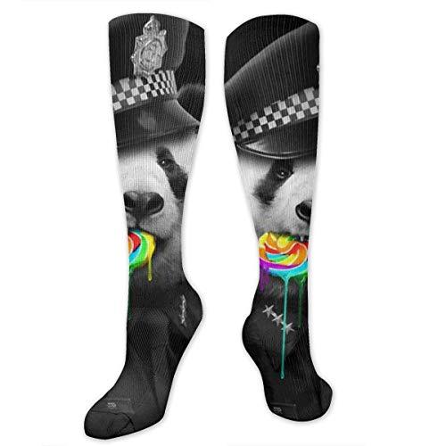 NFHRREEUR Knee High Socks Panda Police Like Lollipop -