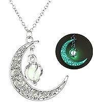 AIUIN 1Pcs Collar de Mujer Colgante en Forma de Luna y Cristal Espiral Hueco Collar de