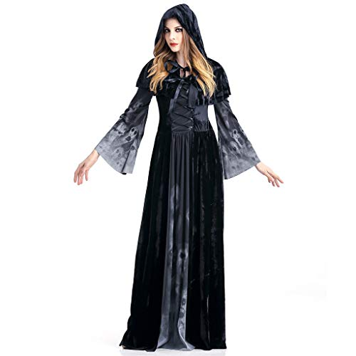 Halloween Hexenkleid Frauen für Verkleidungen Party Retro Kleid Halloween Kleidung für Fasching Party Retro Erwachsene Cosplay Kleid Party Nachtclub Queen Kostüm Übergröße Gr. XL, - Übergröße Queen Kostüm