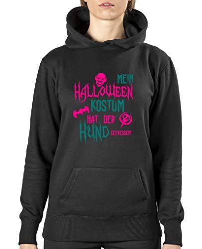 Halloween Kostuem hat der Hund gefressen - Damen Hoodie - Schwarz/Pink-Türkis Gr. S ()