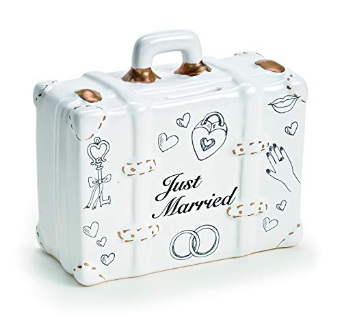 finanzspritzen geschenk Spardose Hochzeit in 3 Varianten - Just Married Koffer - Aus Keramik - Süße Geschenkidee für Brautpaar - Geldgeschenk Koffer für die Flitterwochen - Weiß/Gold