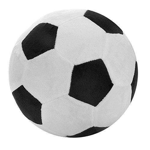 SODIAL Fussball Sport Ball Throw Pillow gefuellt weichen Pluesch Spielzeug fuer Kleinkind Baby Jungen Kinder Geschenk, 8 Zoll L x 8 Zoll W x 8 Zoll H, schwarz - Schwarz-throw-kissen