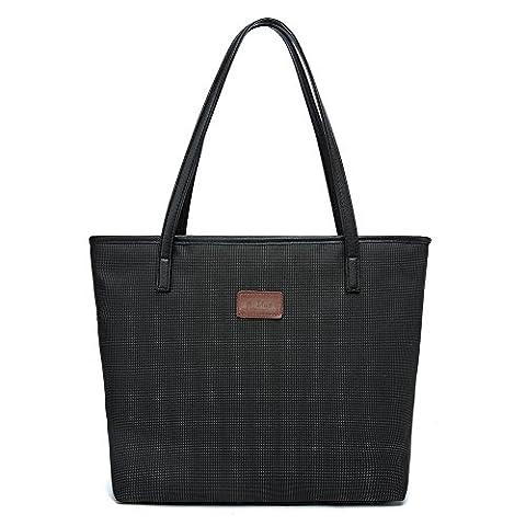 La Gracery Damen Schwarz Tragetasche Handtasche SchulterTasche Shopper große Tote-Schwarz
