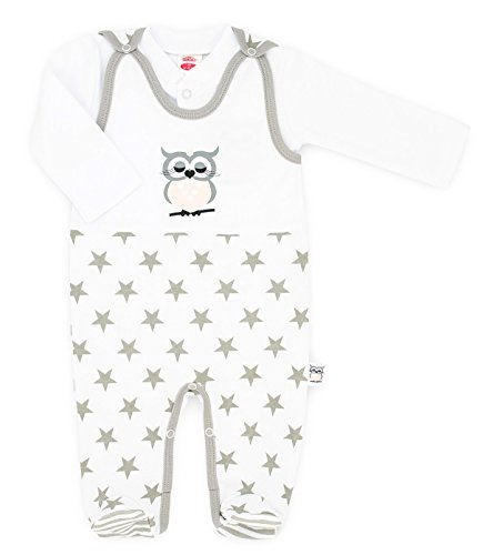 MAKOMA Baby Mädchen Strampler-Set mit Langarmshirt -01134 Eule- (62)