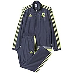 adidas Real Madrid CF Pres Suit 2015/2016 - Chándal, color gris / lima, talla L