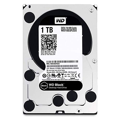 WD Black Performance Desktop Hard Disk Drive da 1 TB, Kit Retail Box, 7200 RPM, SATA 6 Gb/s, Cache 64 GB, 3.5""