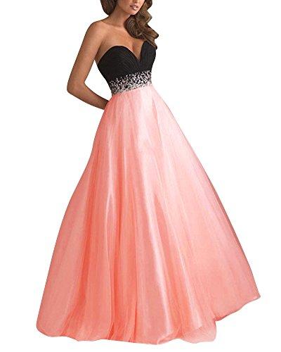 Donna Senza Spalline Lunghi Eleganti Abiti Chiffon Vestito Da Sera Lungo Pink