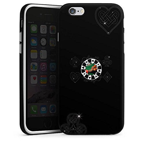 Apple iPhone X Silikon Hülle Case Schutzhülle Poker Chip Herz Silikon Case schwarz / weiß