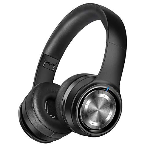 Picun Bluetooth Kopfhörer Kabellos, Hi-FI Stereo Bass 30 Std. Spielzeit, Over Ear Kopfhörer mit HD Mikrofon Faltbares, Kabellos Headset mit TF Karte Modus, Audio AUX für TV/PC/Handy - Schwarz