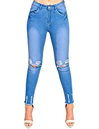 Women's Ladies Skinny Ripped Jeans