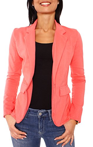 Damen Sommer Sweat Jersey Blazer Jacke Sweatblazer Jerseyblazer Sakko Kurz Ungefüttert Langarm Uni Einfarbig Koralle L - 40 (XL)