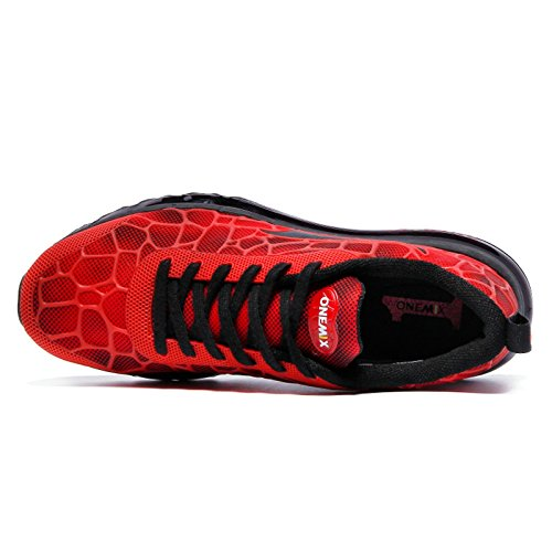 Onemix Air Baskets Chaussures Jogging Course Gym Fitness Sport Lacet Sneakers Style Running Multicolore Respirante Homme Rouge noir