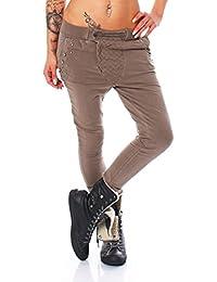 4671 Fashion4Young Damen Haremshose Hose Baggy Boyfriend Freizeithose Jogginghose Sporthose Harem