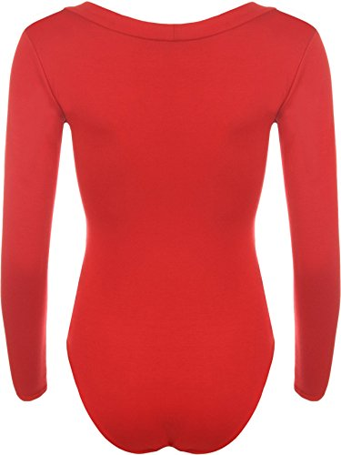 WEARALL Femmes V Cou Plongeon Étendue Plaine Longue Manche Collant Haut Dames Body - Hauts - Femmes - Tailles 36-42 Rouge