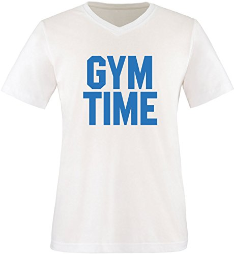 EZYshirt® Gym Time Herren V-Neck T-Shirt Weiss/Blau