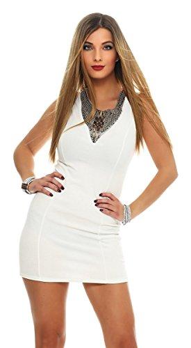 5675 Fashion4Young mini-robe sans manches pour femme g. robe étui élégant 36/38 Blanc - blanc
