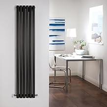 Hudson Reed DRBDP1 - Radiador Calentador Diseño Vertical Decorativo en Acero Negro Lúcido- 754 Vatios