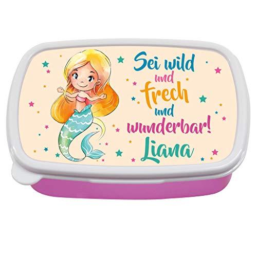 Wandtattoo Loft Brotdose Meerjungfrau mit Spruch Sei wild und frech und wunderbar! -Rosa