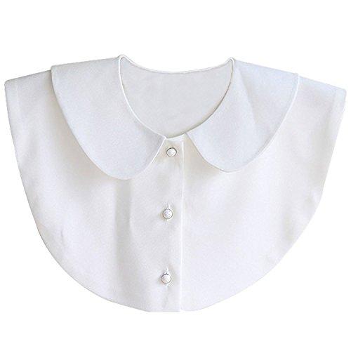 Aitos Fashion Doll Kragen Vintage Elegante Damenhalb Fake Hemd Bluse Weiß Abnehmbare