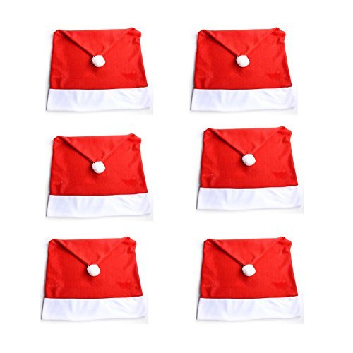 6PCS Santa Clause Red Hat Chair Back Cover Christmas Dinner Table Party Decor