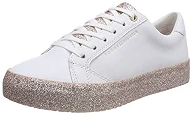 ebd8949e190404 Tommy Hilfiger Damen Sparkle Outsole Glitter Sneaker Weiß (White-Pink 100) 42  EU