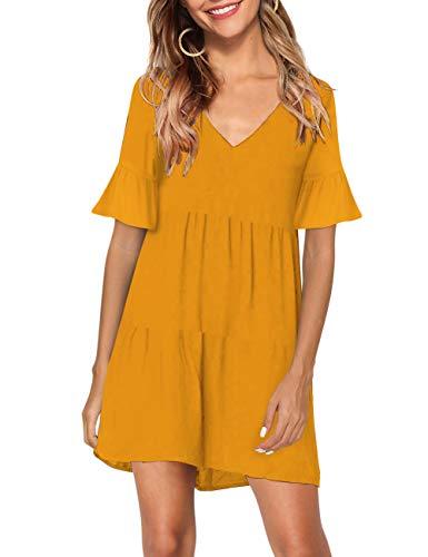 KOJOOIN Tunika Kleid Boho Bohemian Kleid Vintage Kleid Lose Casual Swing Kleid mit Gerafft Schmeichelhaft