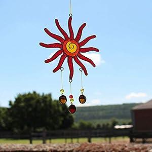 Fensterdeko Sonne mit Tropfen | Suncatcher gelb-rot | Fenster Deko zum Aufhängen | Sonnenfänger | Fensterschmuck Geschenkidee