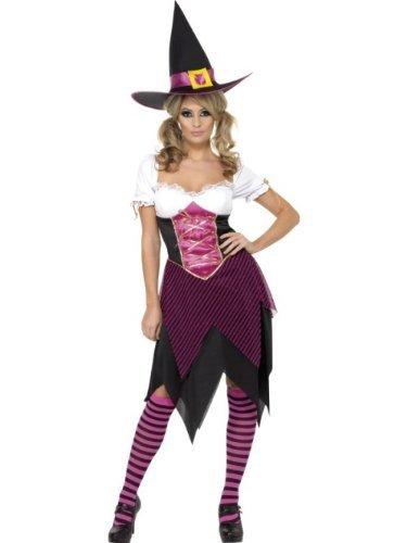 Hexe Pink für Damen pinkes Halloween Damenkostüm Halloweenkostüm Gr. 36/38 (S), 40/42 (M), 44/46 (L), Größe:S (Süße Hexe Halloween Kostüme Frauen)