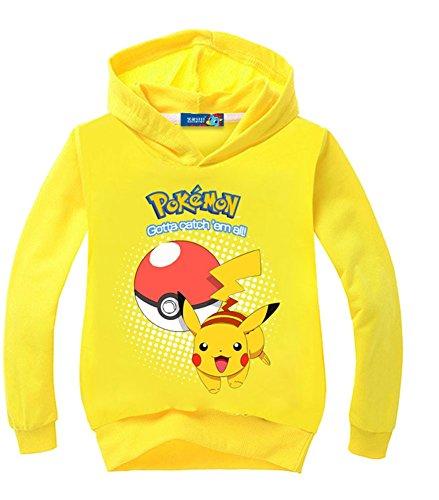 CTOOO Digitaldruck Pokmon GO Jungen Kapuzenpullover Hoodies Sweatshirt Pikachu Print Pullover Kinder Multicolor