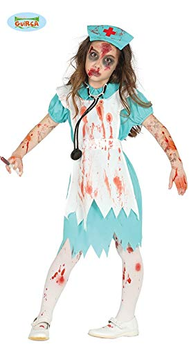 Grünes Zombie OP Krankenschwester Kinder Halloween Kinderkostüm Blut Gr. 98 - 146, Größe:128/134