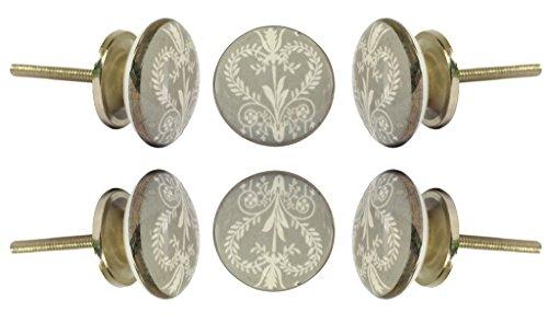 Satz von 4 keramischen Wamer-Kabinettknöpfen Küchenschrank-Kommode-Türknauf-Kleiderschrank-Schubladengriff von Trinca-Ferro (Glas-möbelknöpfe Grau)