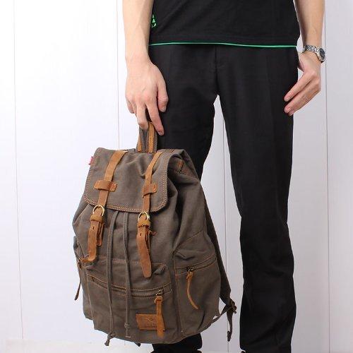 KIPTOP Neu Herren Damen Vintage Canvas Canvas Leder(nur Strap) Rucksack Retro Rucksack Vintage für Outdoor Sports Rucksack Canvas Uni Rucksack C-Grau