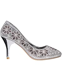 KRISP Zapatos Mujer Tacón de Aguja Alto Fiesta Boda Cómodos Cerrados Originales Plateados Dorados