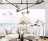YUANLINGWEI Custom Wallpaper Fotográfico Mural Costa Animal Flamingo Pareja Patrón Seda Mural Adecuado Para La Sala De Estar En Casa Fondo De Decoración De Pared,50Cm (H) X 70Cm (W)