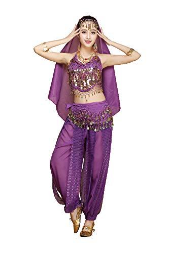 Grouptap Frauen Bauchtänzerin 4-teilige Kostüm-Set Outfit mit Top-Hosen Kopf Schleier Hüfttuch für arabischen ägyptischen Tanz - Professionelle Ägyptische Bauchtanz Kostüm