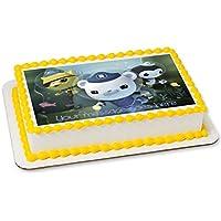 Octonauts - Decoración comestible para tarta con glaseado de fondant rectangular e impresa con tu felicitación