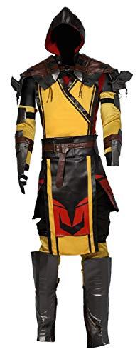 Pandacos Scorpion Kostüm Cosplay Costume Set Deluxe Anzug aus Mortal Kombat 11 für Unisex Game Zubehör für Halloween, Karneval und Fasching 5 Größe