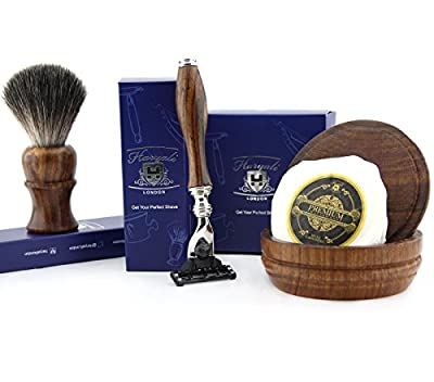 4 PCs Wooden Shaving Set With Gillette Mach 3,Pure Badger Hair Brush,Soap & Bowl