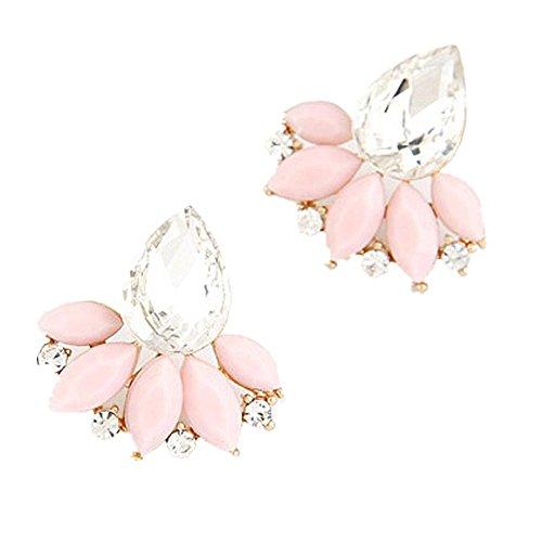 Ohrschmuck Schmuck Ohrringe Damen Elegant ZIYOU Damen Mode OL Leuchtenden Edelstein Verlässt Ohrringe (Rosa)