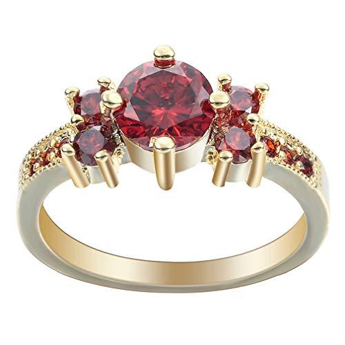 COMVIP Rose Gold Plated Damen Frauen Finger Ringe Bandring Motivring Partnerring Rot 9