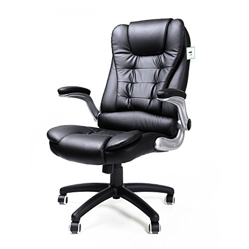 SONGMICS Office Swivel Chair with 76 cm High Back Large Seat and Flip-Up Armrest Computer Desk Executive Chair PU OBG51BUK