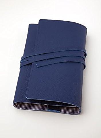 LITERAturtasche L blau   Buchhülle aus Leder: Variable Buchhülle aus genarbtem Leder für Bücher bis 24 cm Höhe. Innenfutter (Leder Echtes Album)