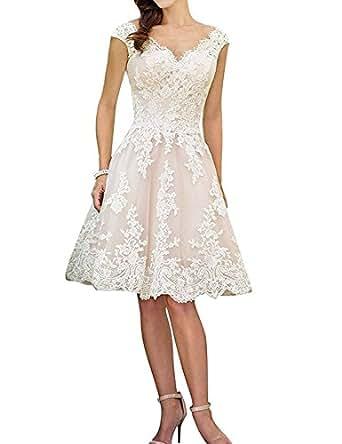 Mingxuerong Spitzen Kurz Tüll Rückenfrei Hochzeitskleid