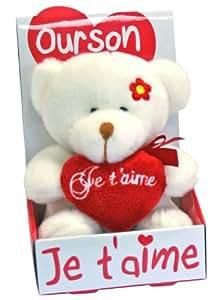 Petite Peluche Ours blanc avec écrit Je t'aime