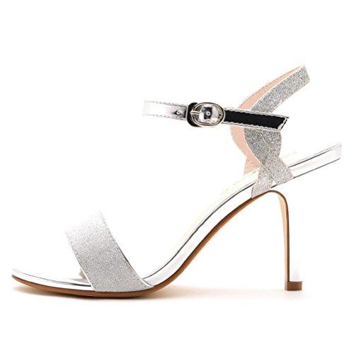 Damen Römische Oberflach mit Pailetten Offene Zehen Schmale Riemenschnallband Stilettos High Heels Sandalen Silber